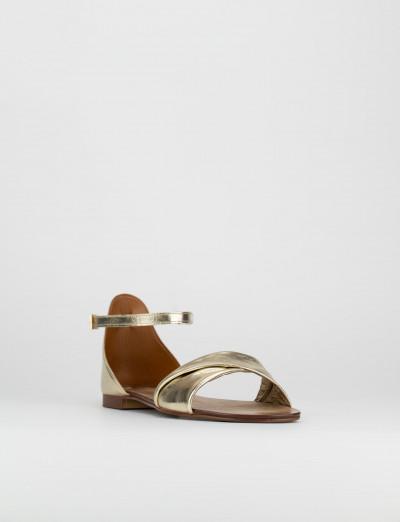 Sandalo tacco 1cm oro pelle