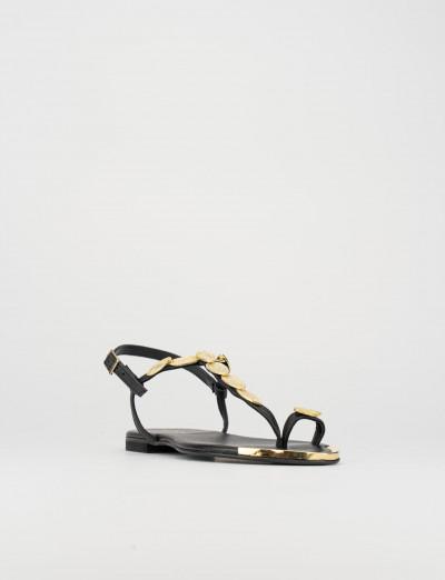 Sandalo infradito tacco 1 cm nero pelle