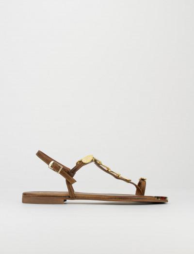 Sandalo infradito tacco 1 cm testa pelle