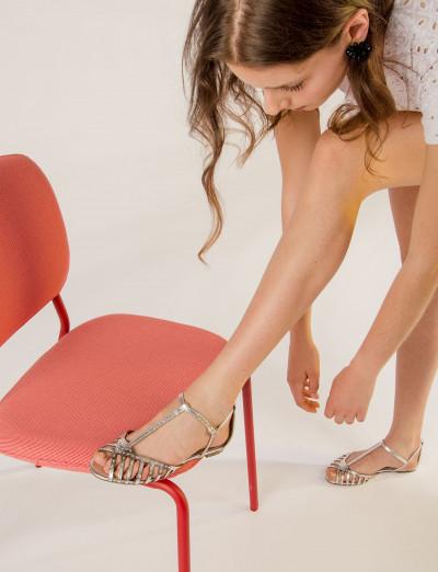 Sandalo tacco 1 cm argento pelle