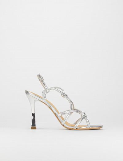 Sandalo tacco 9 cm argento pelle