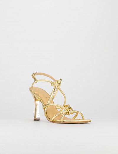 Sandalo tacco 9 cm oro pelle