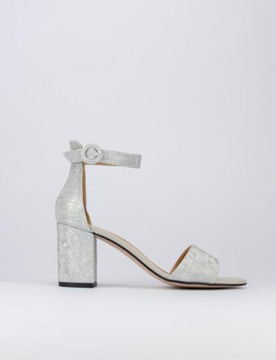 Sandalo tacco 7cm argento tessuto