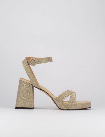Sandalo tacco 8 cm oro pelle