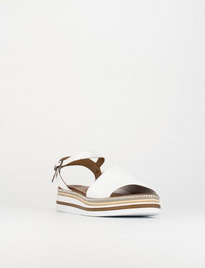 Sandalo zeppa 3 cm bianco pelle