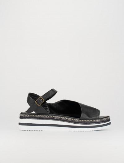 Sandalo zeppa 3 cm nero pelle