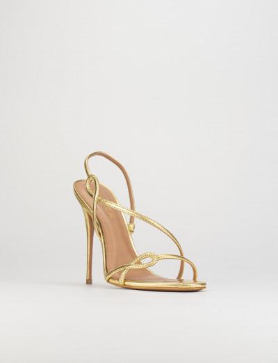 Sandalo tacco 11 cm oro pelle