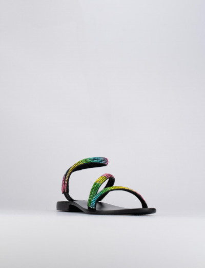 Sandalo tacco 1 cm multicolor pelle