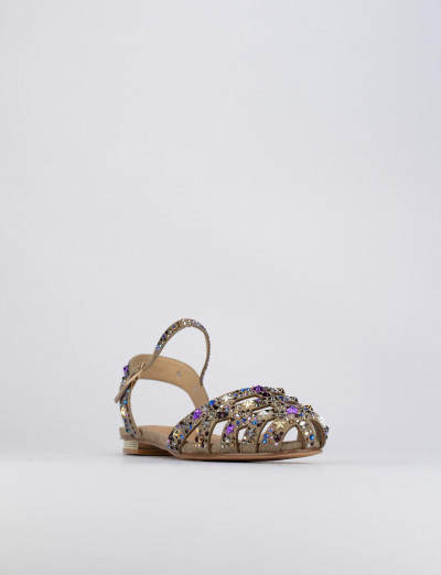 Sandalo tacco 1 cm beige pelle