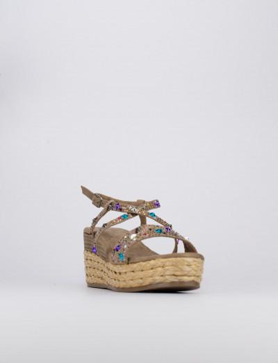 Sandalo zeppa 7 cm beige camoscio