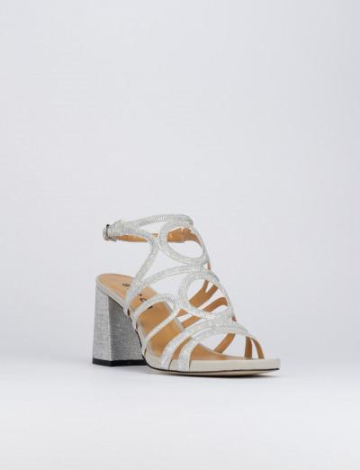 Sandalo tacco 8 cm argento pelle