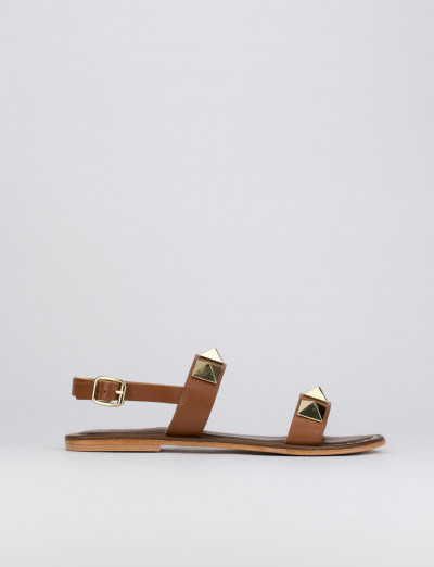 Sandalo tacco 1 cm marrone pelle
