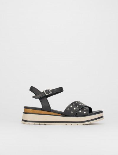 Sandalo tacco 1 cm nero pelle