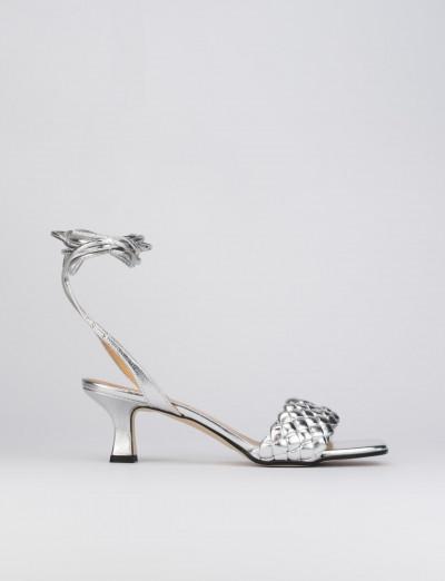 Sandalo tacco 5 cm argento pelle
