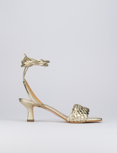 Sandalo tacco 5 cm oro pelle