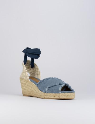 Espadrillas zeppa 6 cm blu tessuto