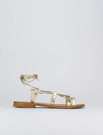 Sandalo tacco 1 cm oro laminato