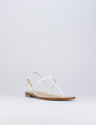 Sandalo tacco 1 cm bianco pelle