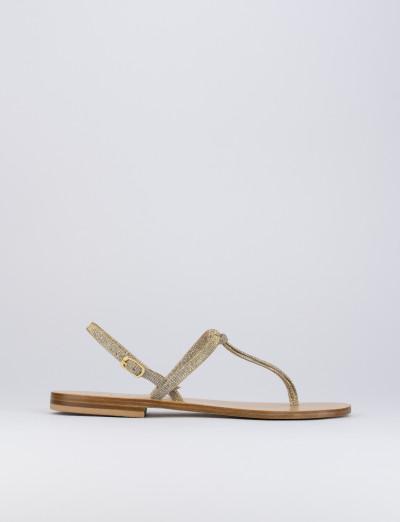 Sandalo tacco 1 cm oro glitter