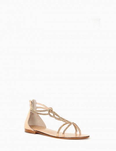 Low heel sandals heel 1 cm beige leather