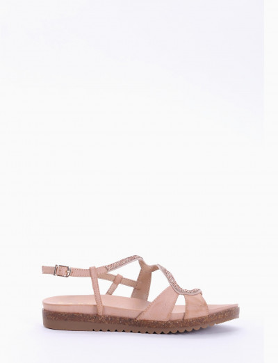 Low heel sandals pink leather