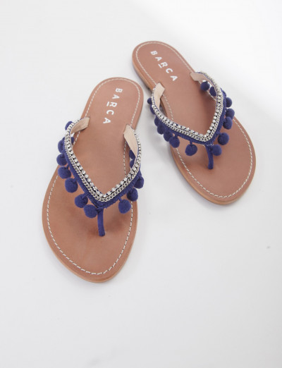 Low heel sandals heel 1 cm blu leather