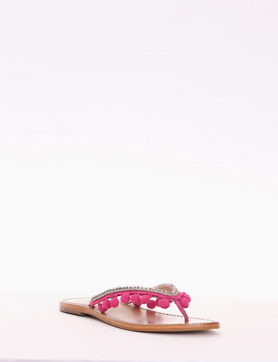 Low heel sandals heel 1 cm fuxia leather
