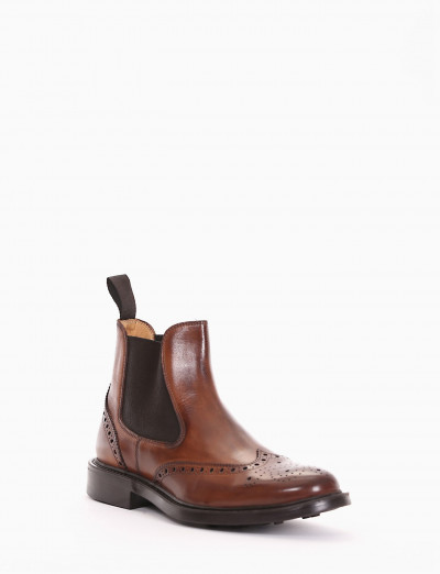 Ankle boots heel 3cm brown leather