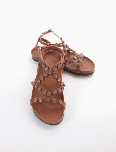 sandalo fondo in gomma e soletto interno in vera pelle. Tomaia in bellissima e morbidissima pelle composta da fascette che avvolgono il collo del piede bronzo