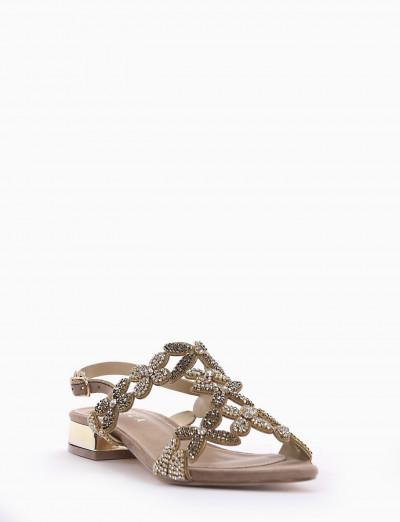 sandalo tacco 2 cm tortora