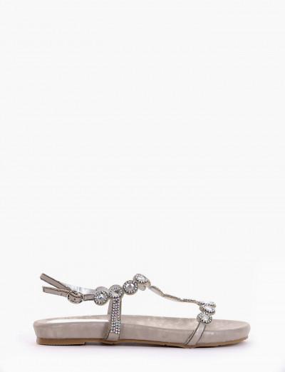 sandalo zeppetta intera argento