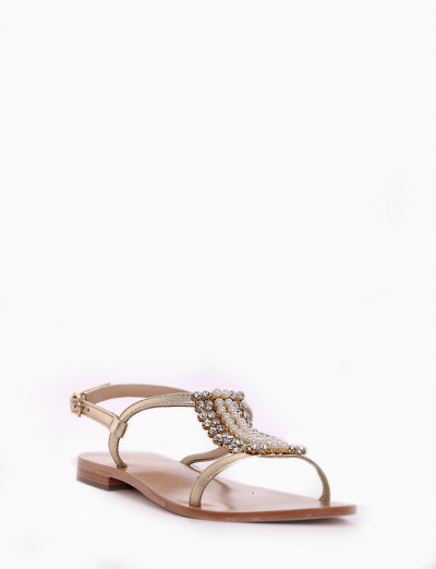 Low heel sandals heel 1 cm platinum leather