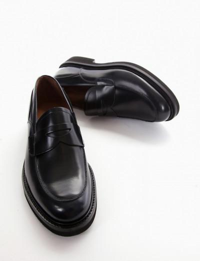 Loafers heel 2 cm blu leather