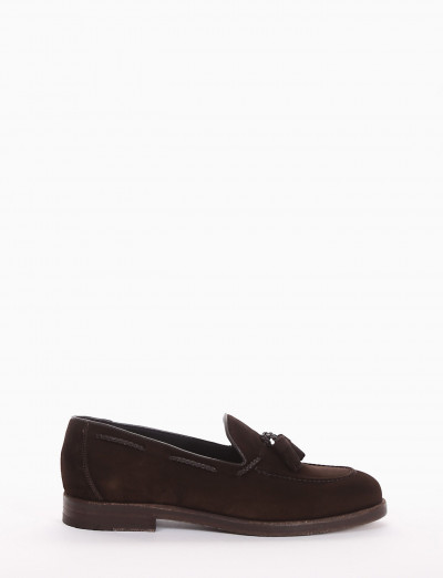 Loafers heel 2 cm dark brown chamois