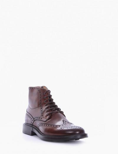 Combat boots heel 2 cm brown leather