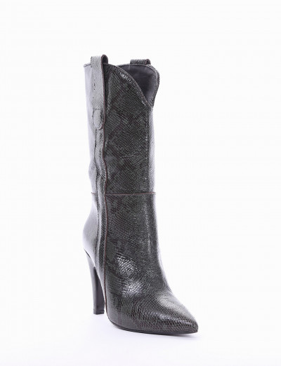 High heel boots heel 10 cm green python