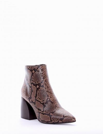 High heel ankle boots heel 5 cm brown python