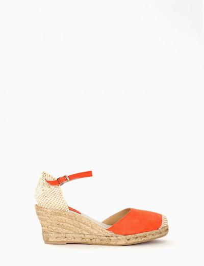 Wedge heels salmon chamois