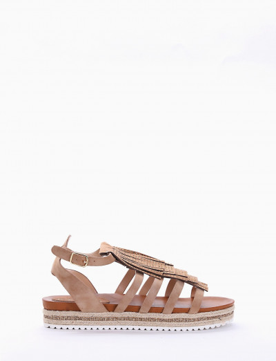 Low heel sandals heel 2 cm beige leather