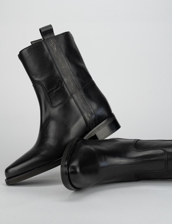 Low heel ankle boots heel 5 cm black leather