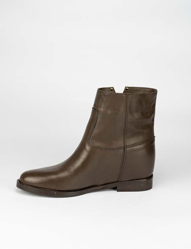 Low heel ankle boots heel 2 cm dark brown leather