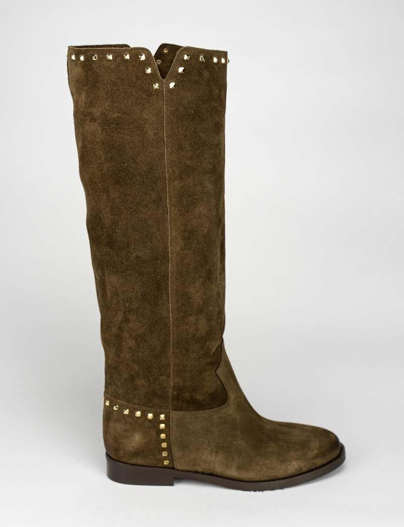 Low heel boots heel 2 cm leather chamois