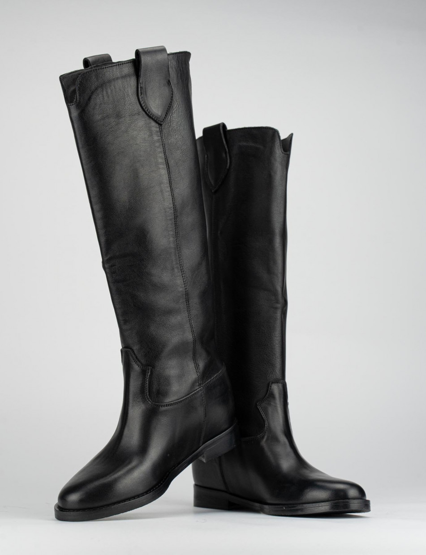 Low heel boots heel 3 cm black leather