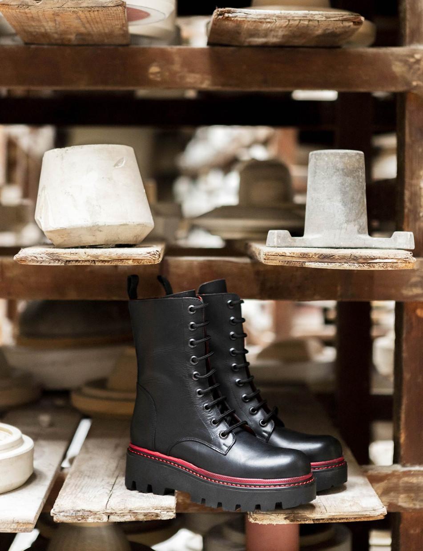 Combat boots heel 5 cm black leather