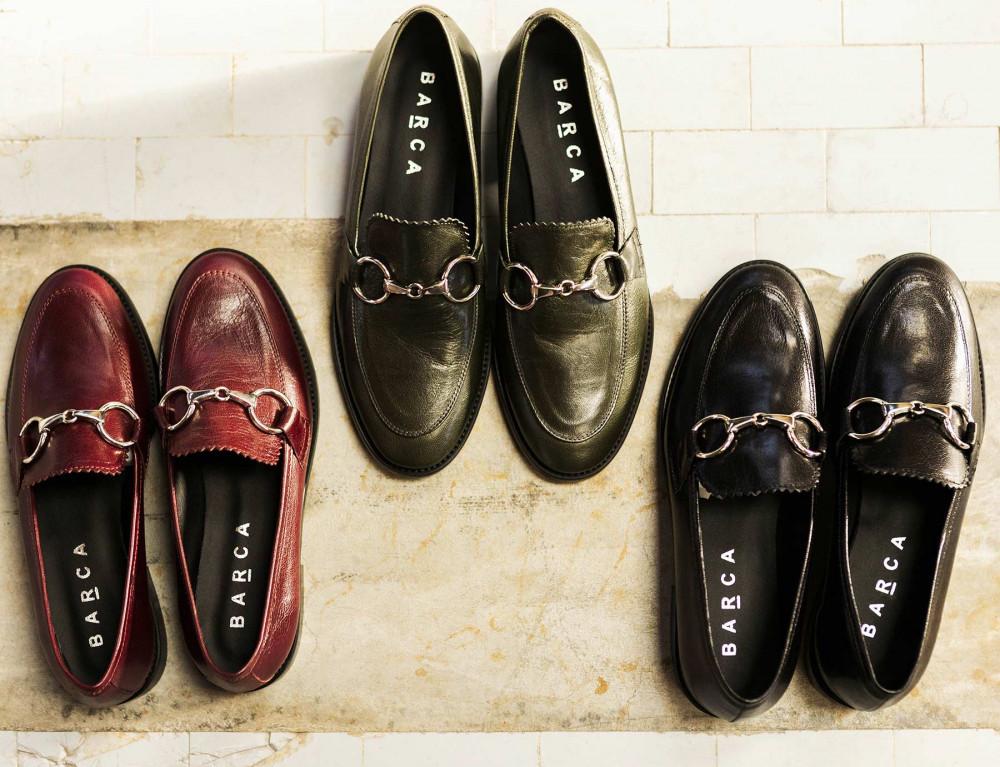 Loafers heel 3 cm black leather