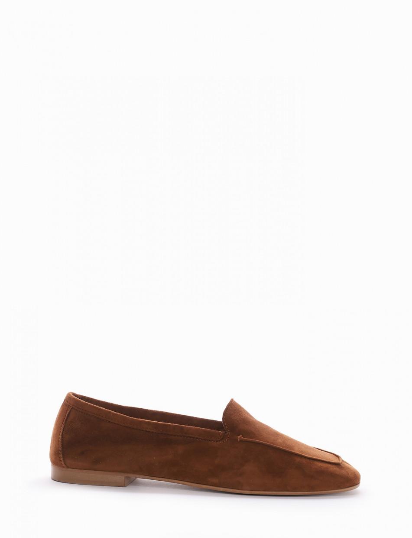 Loafers heel 1 cm brown chamois