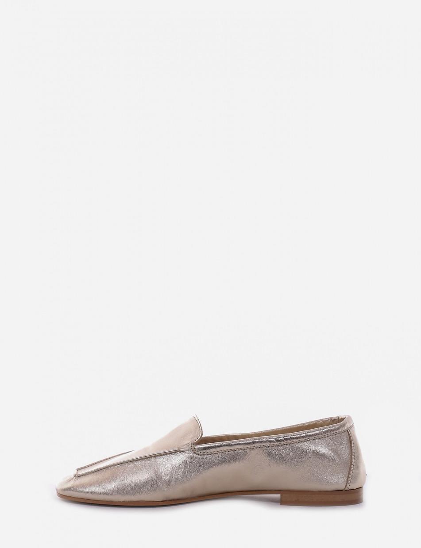 Loafers heel 1 cm platinum laminated