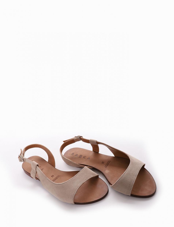 Low heel sandals heel 1 cm beige chamois