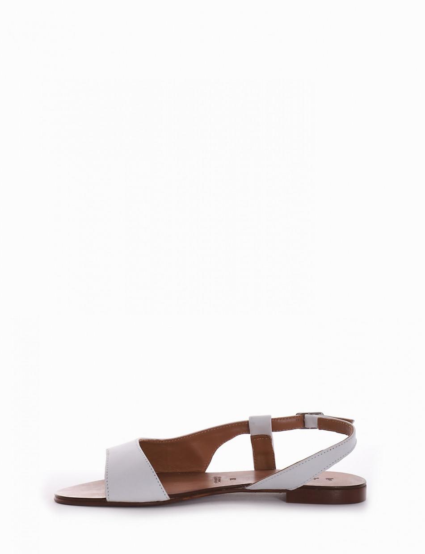 Low heel sandals heel 1 cm white leather