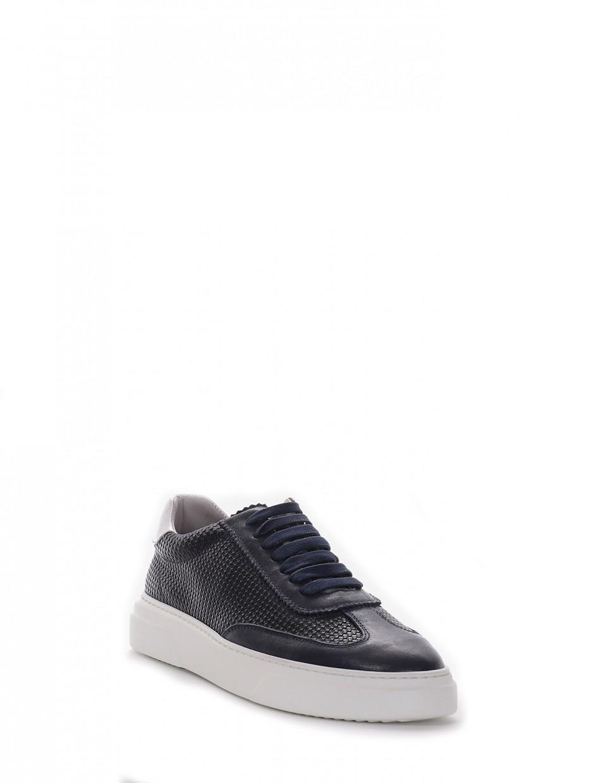 Sneakers heel 3 cm blu leather